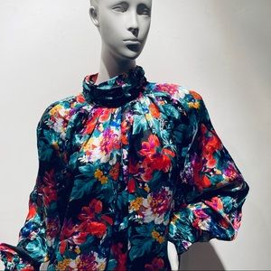 FLOWER WITCH Vintage 80s Satin Floral Blouse M/L